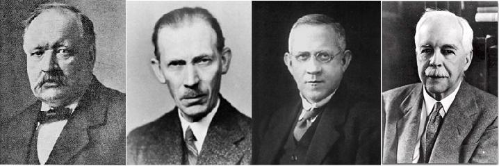 Vier bazen, van links naar rechts: Svante Arrhenius, Johannes Brønsted, Thomas Lowry en Gilbert Lewis.
