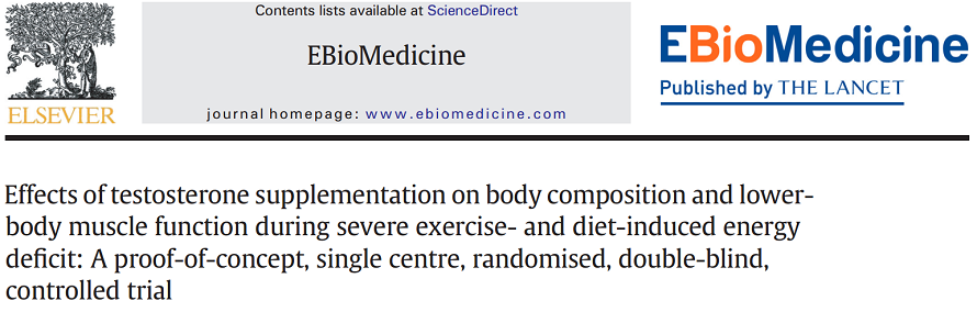 Effects of testosterone supplementation on body composition and lower-body muscle function during severe exercise- and diet-induced energy deficit: A proof-of-concept, single centre, randomised, double-blind, controlled trial